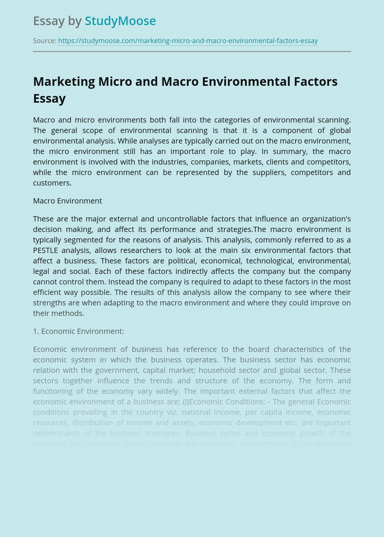 Marketing Micro and Macro Environmental Factors