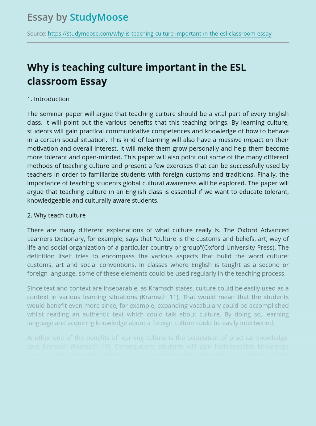Why is teaching culture important in the ESL classroom