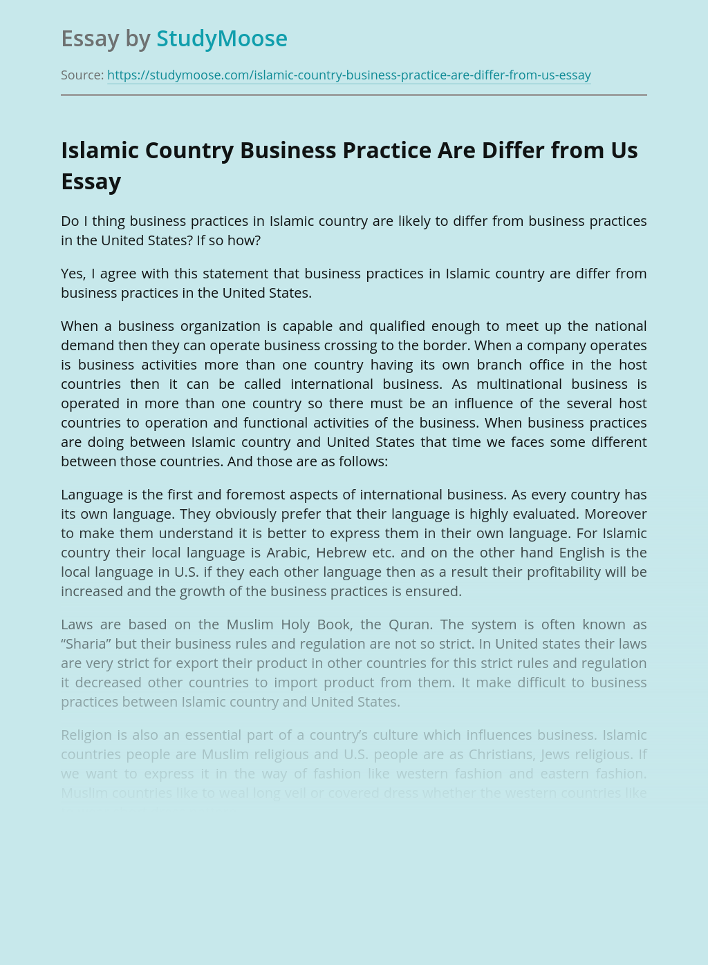 Islamic Country Business Practice Are Differ from Us