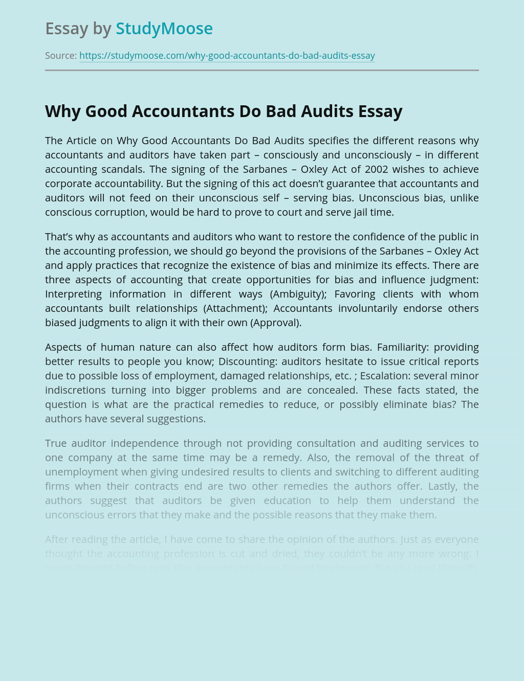 Why Good Accountants Do Bad Audits Article Analysis