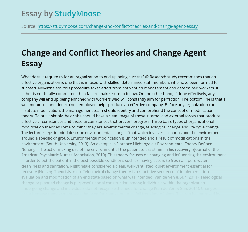 Change and Conflict Theories and Change Agent
