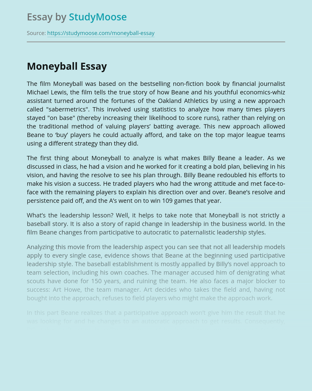 Moneyball essay analysis of bacon essay of truth