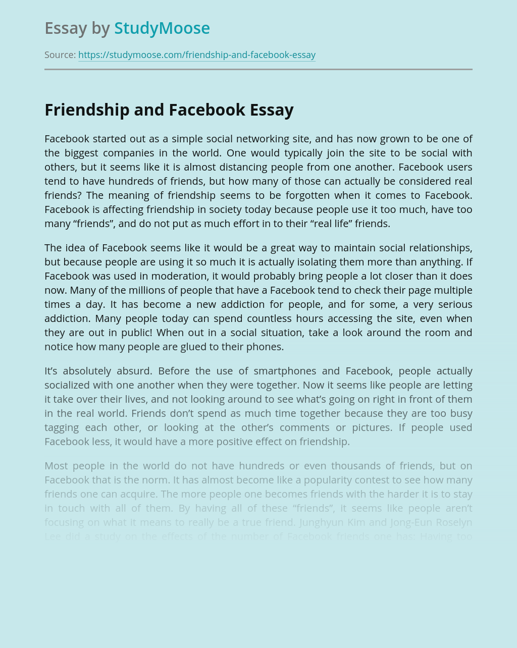 Friendship and Facebook