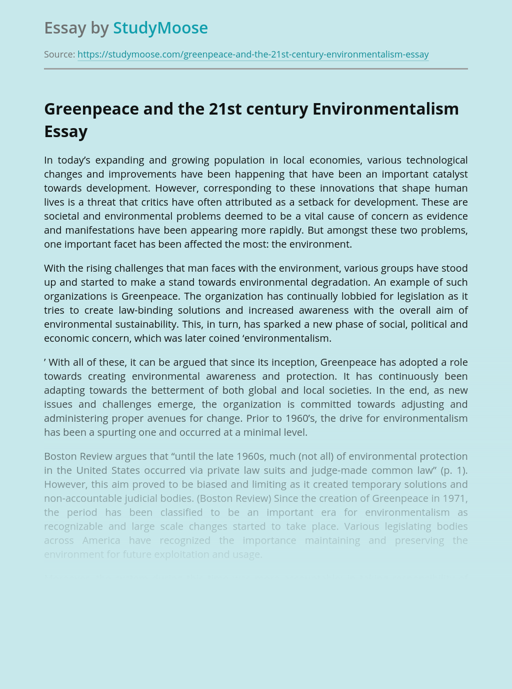 Greenpeace and the 21st century Environmentalism