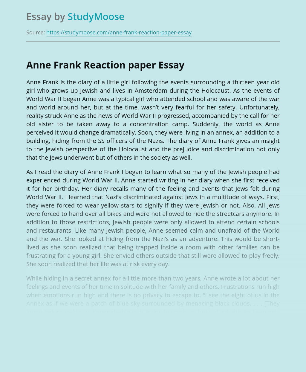 Personal Experience of Anne Frank Reaction Paper