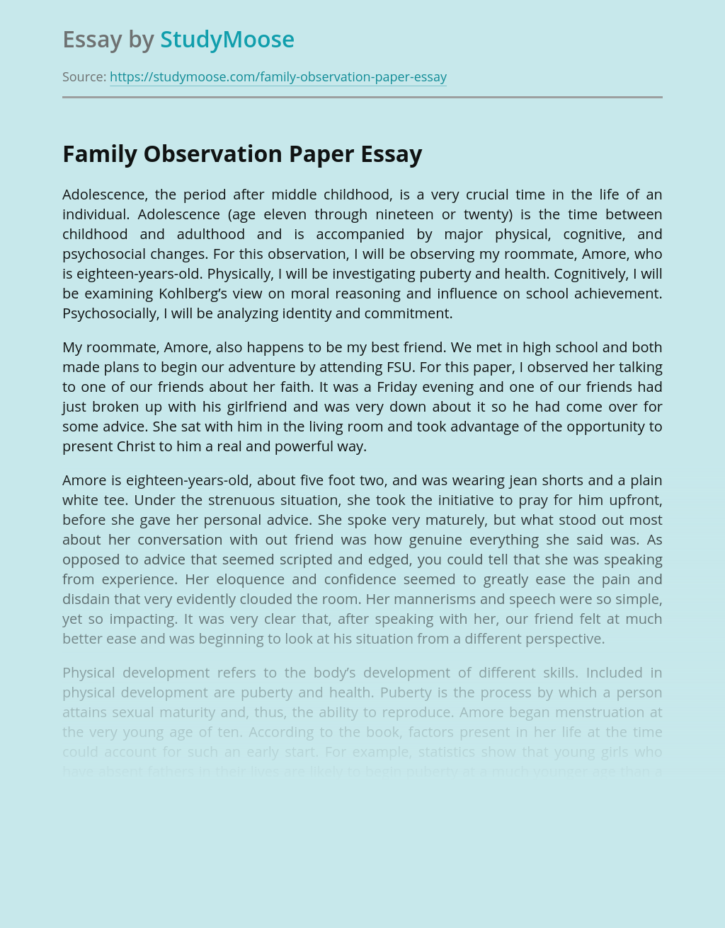 Family Observation Paper