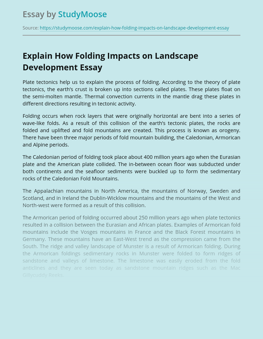 Explain How Folding Impacts on Landscape Development