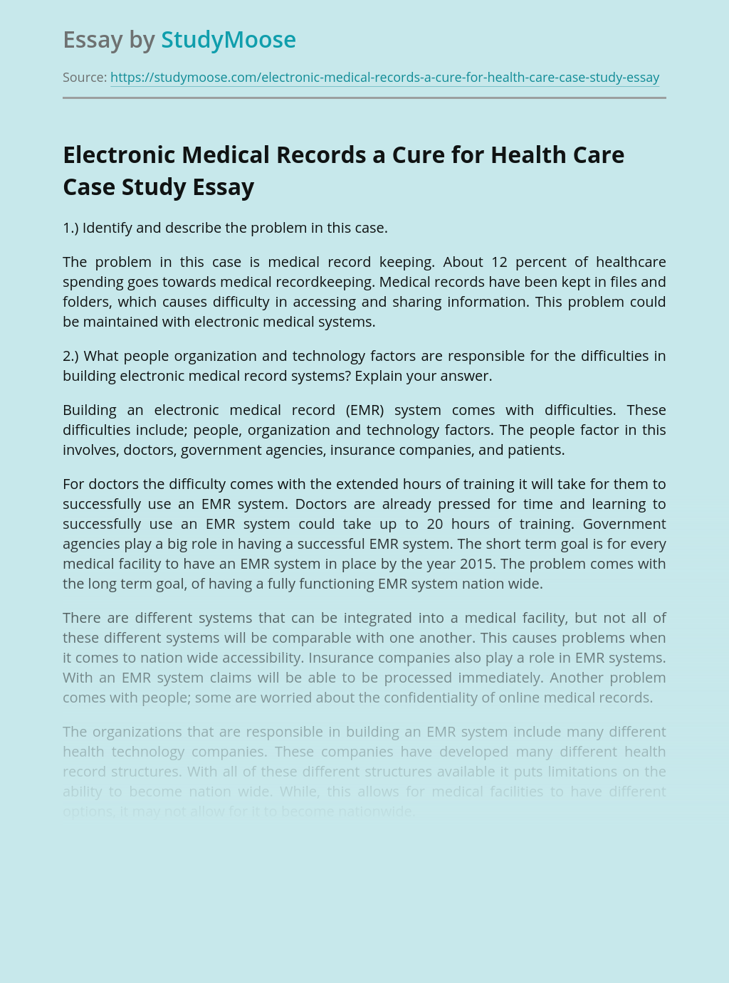Electronic Medical Records a Cure for Health Care Case Study