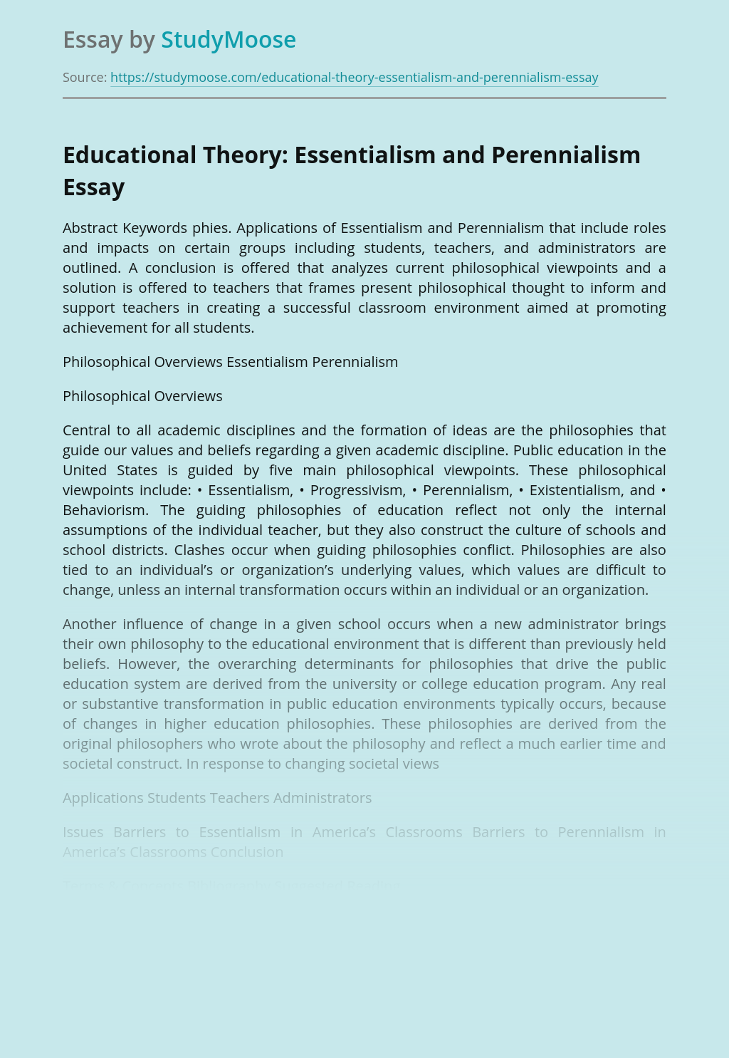 Educational Theory: Essentialism and Perennialism