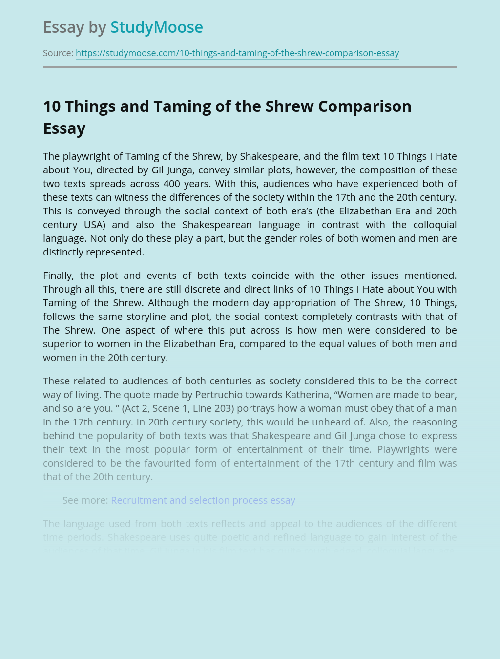 10 Things and Taming of the Shrew Comparison