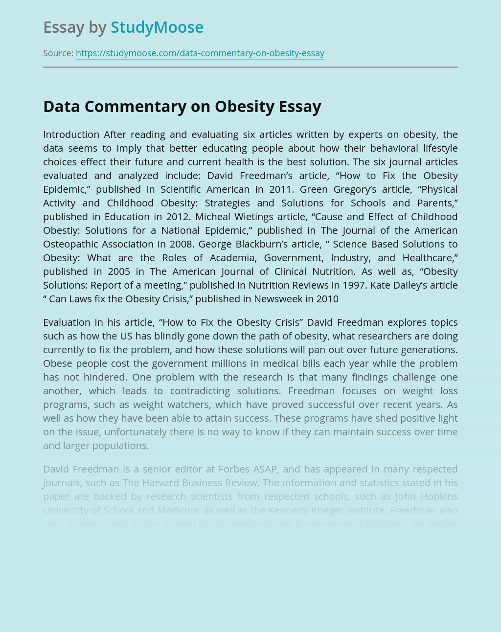 Data Commentary on Obesity