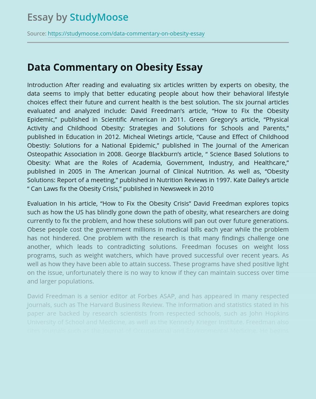 Data Commentary on Obesity