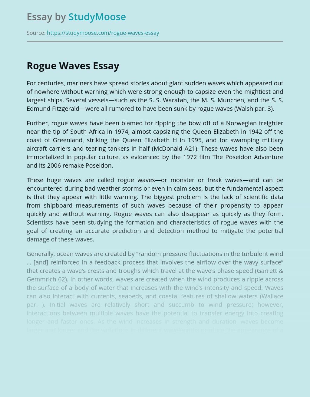 Rogue Waves as Natural Disasters