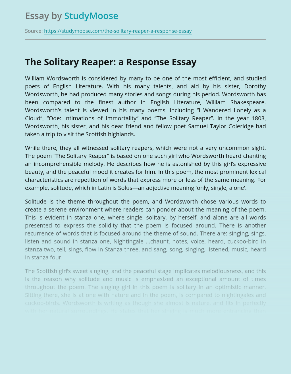 "Analysis of ""The Solitary Reaper"" by William Wordsworth"