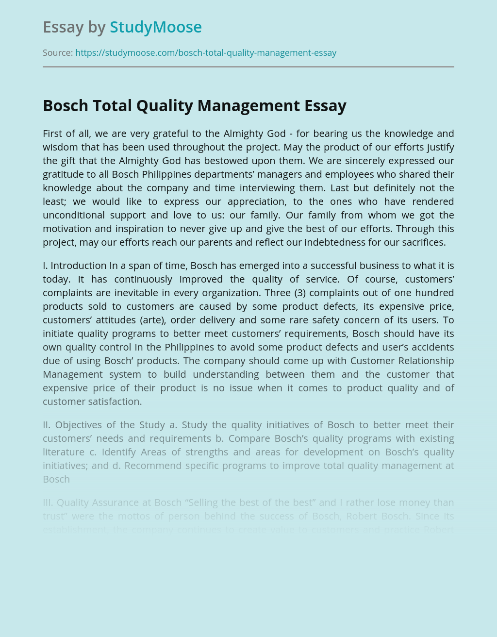 Bosch Total Quality Management