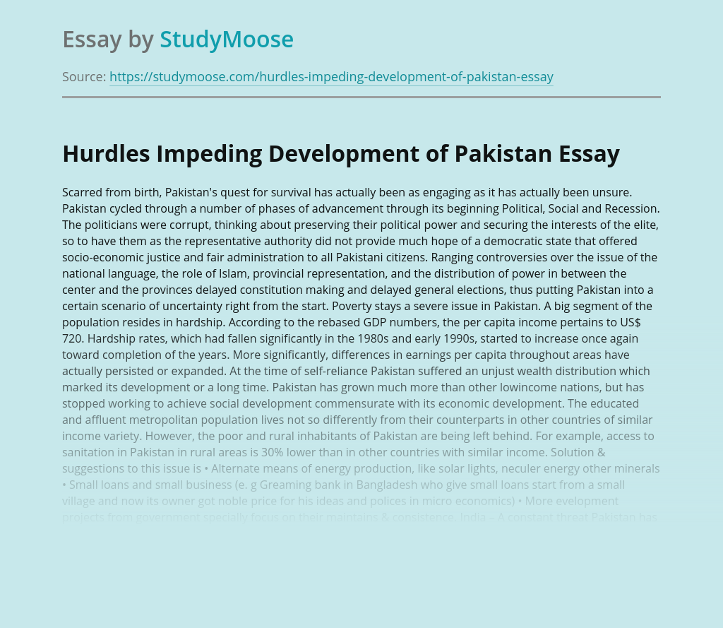 Hurdles Impeding Development of Pakistan