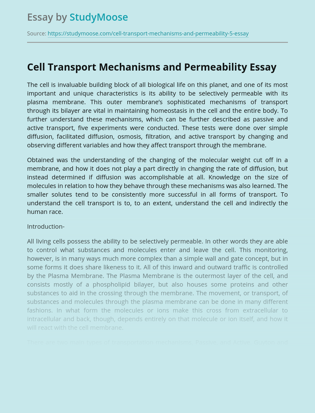 Passive and Active Cell Transport Mechanisms