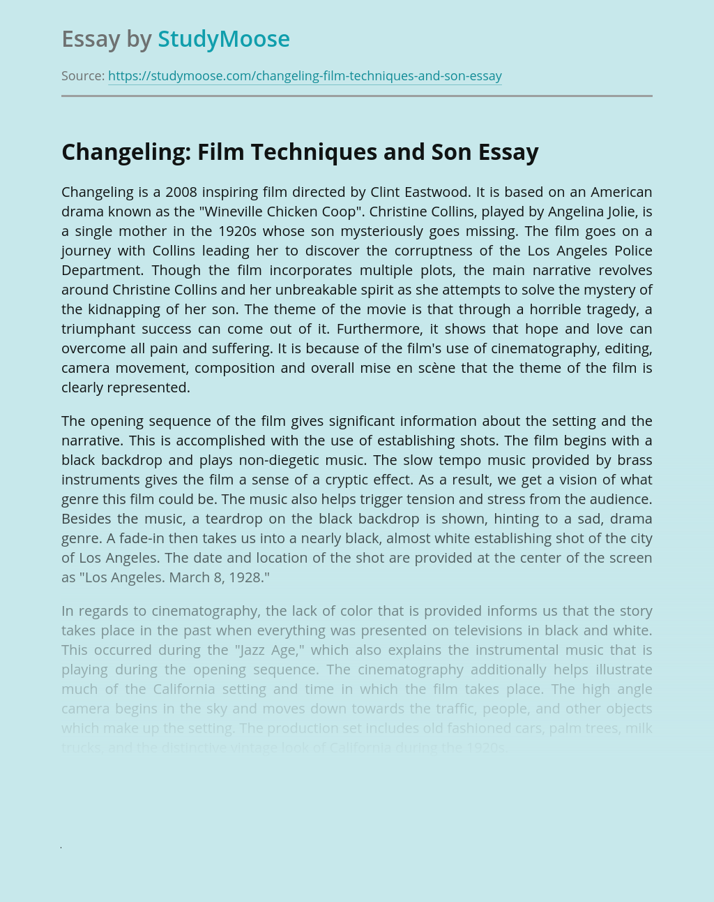 Changeling: Film Techniques and Son