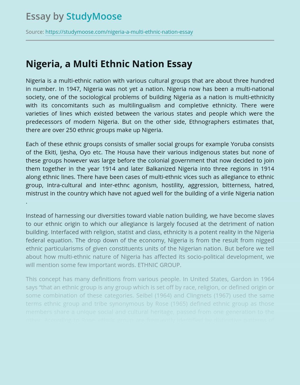 Nigeria, a Multi Ethnic Nation