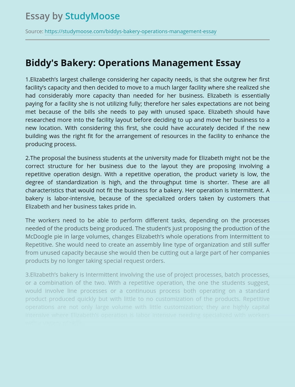 Biddy's Bakery: Operations Management
