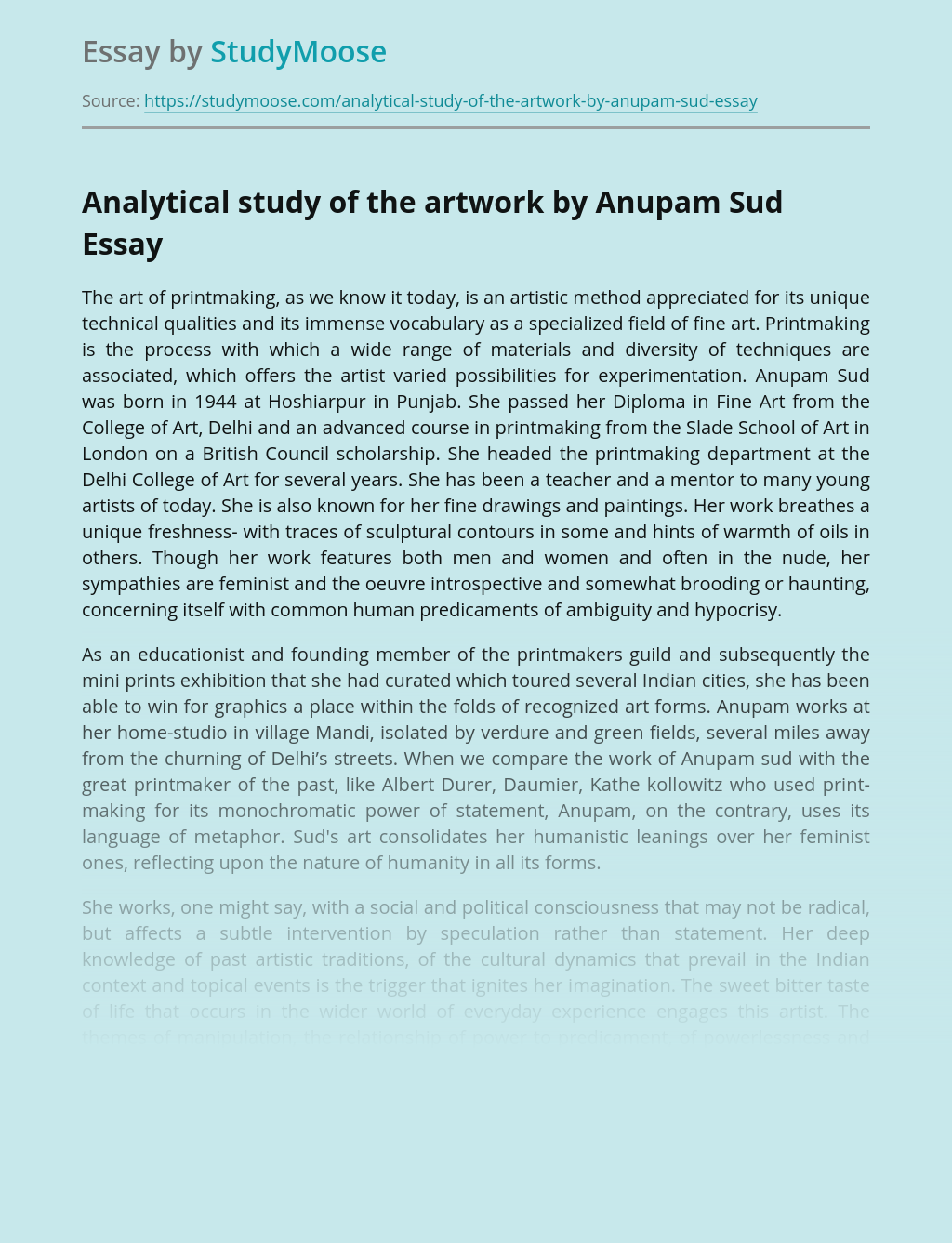 Analytical study of the artwork by Anupam Sud