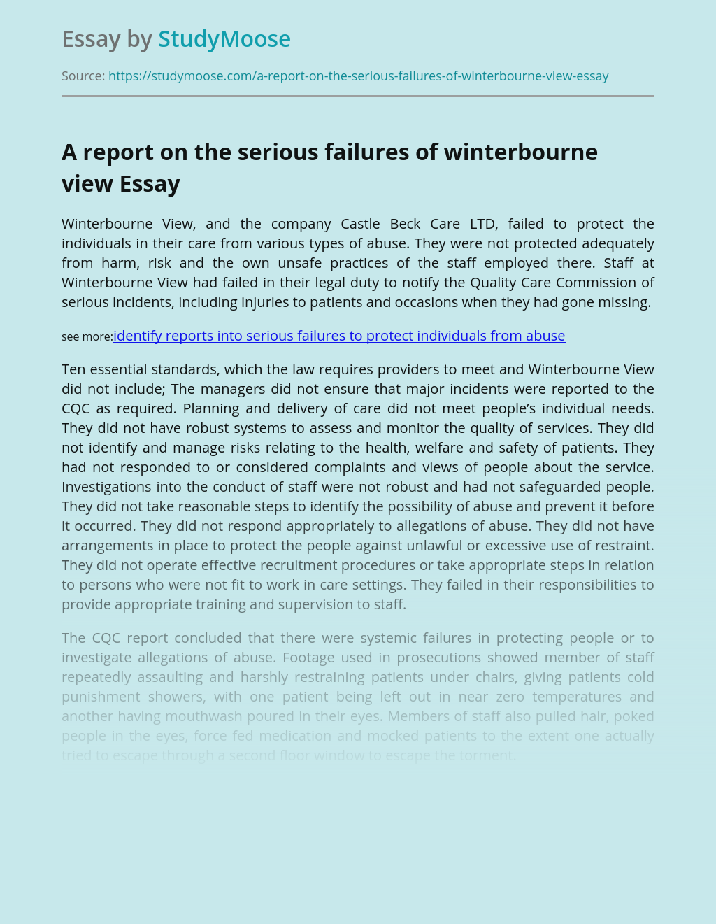 A report on the serious failures of winterbourne view