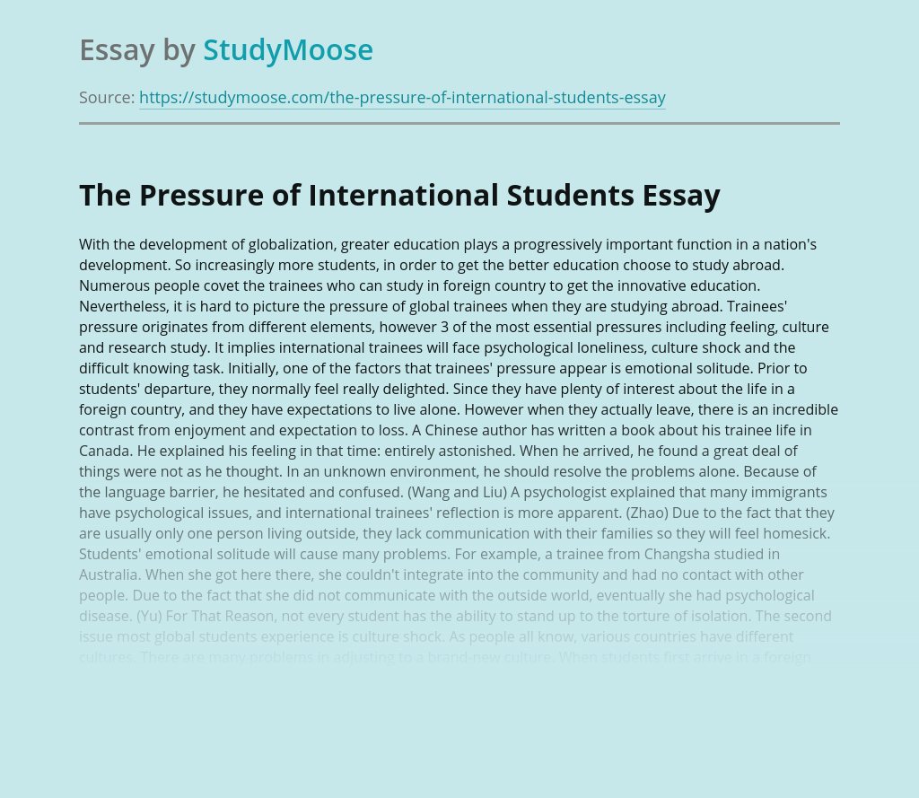 The Pressure of International Students