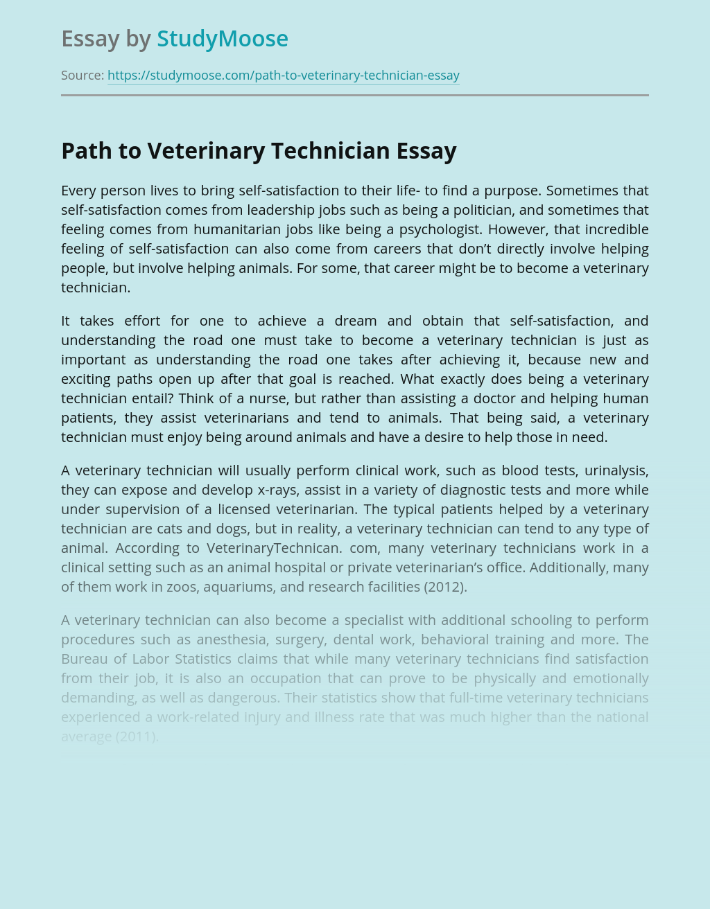 Path to Veterinary Technician