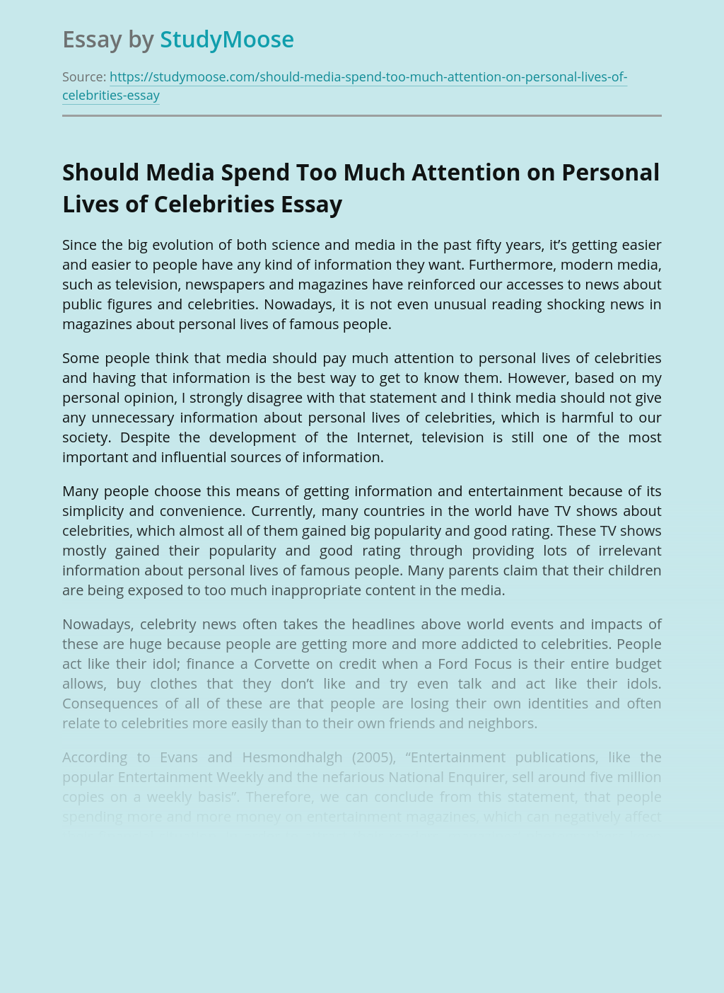 Should Media Spend Too Much Attention on Personal Lives of Celebrities