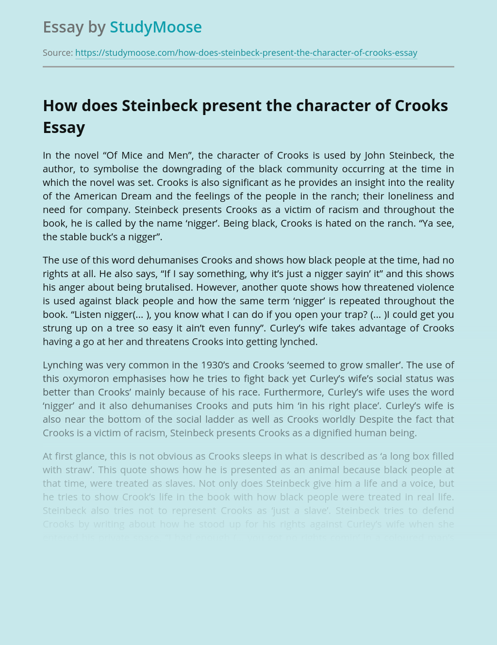 How does Steinbeck present the character of Crooks