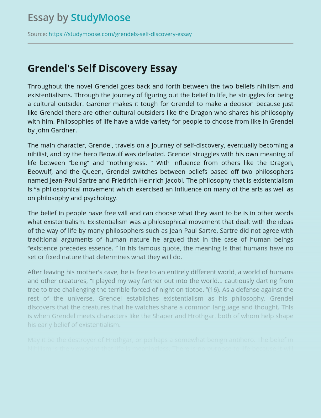 Grendel's Self Discovery