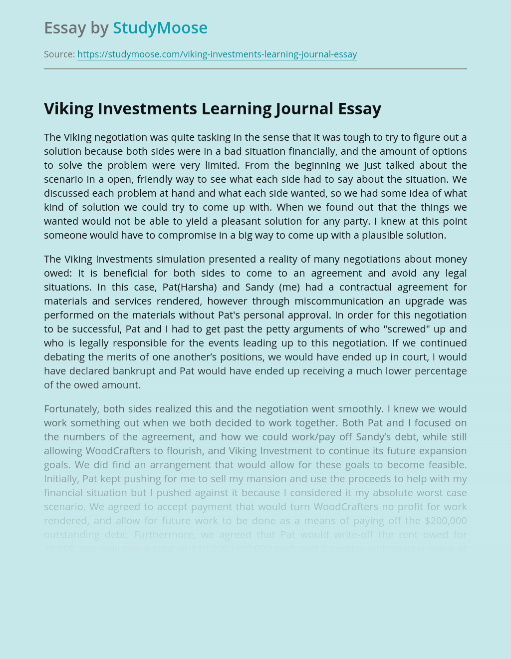 Viking Investments Learning Journal