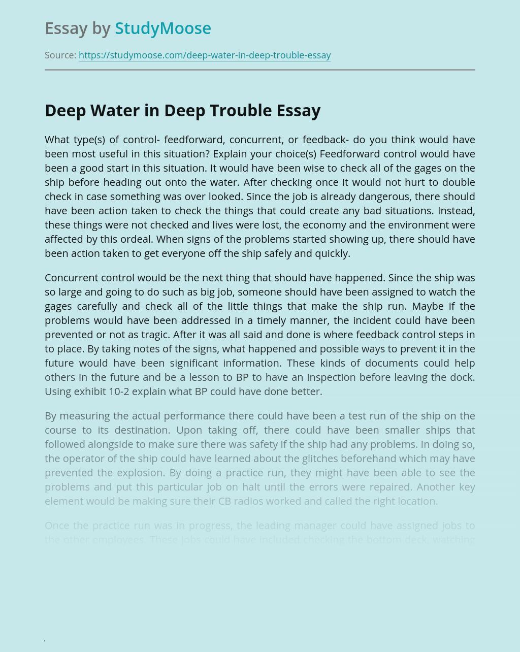 Deep Water in Deep Trouble