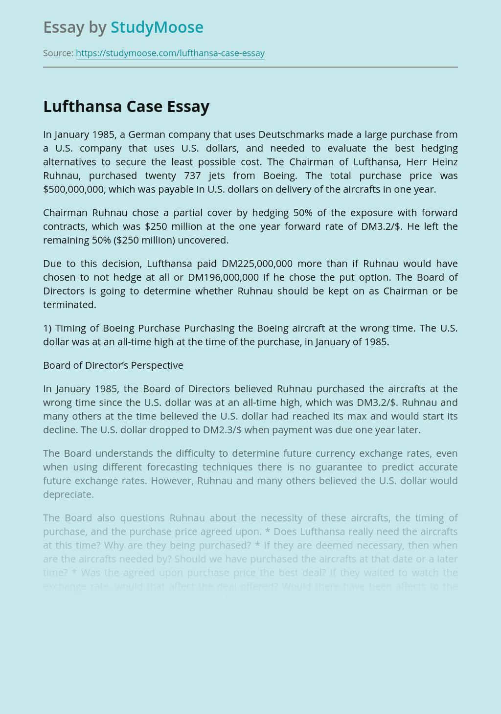 Lufthansa Case Analysis