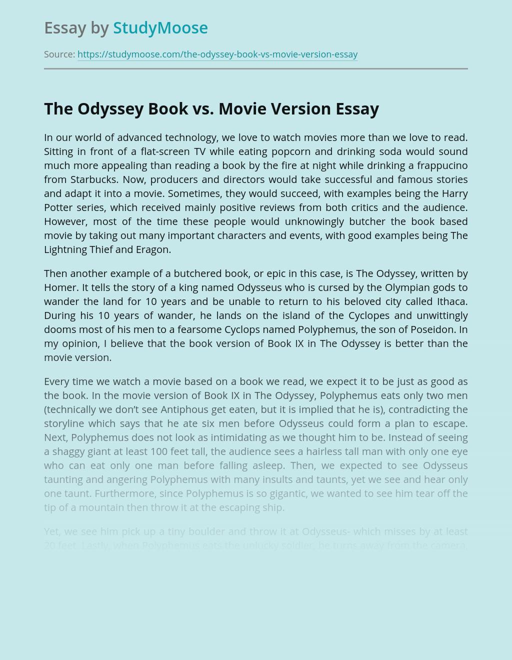 The Odyssey Book vs. Movie Version