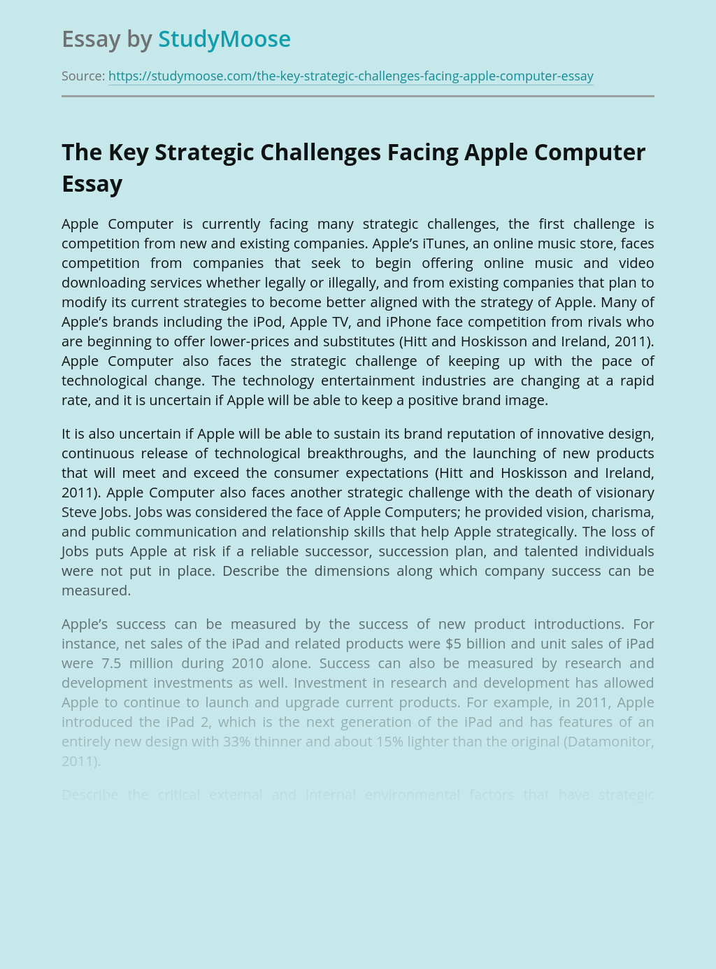 The Key Strategic Challenges Facing Apple Computer
