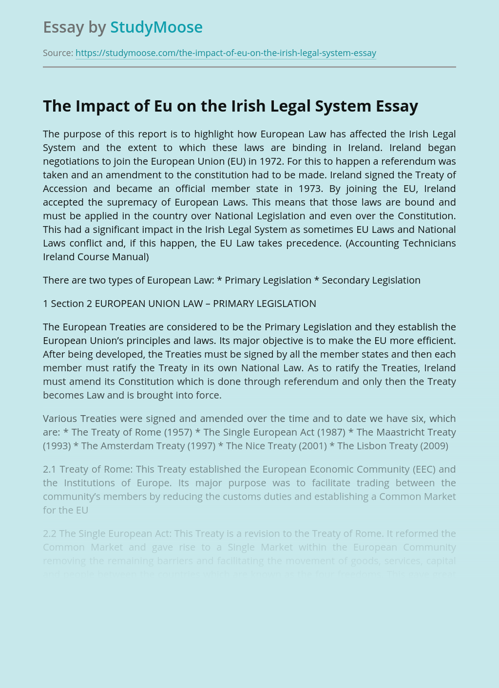 The Impact of EU on the Irish Legal System