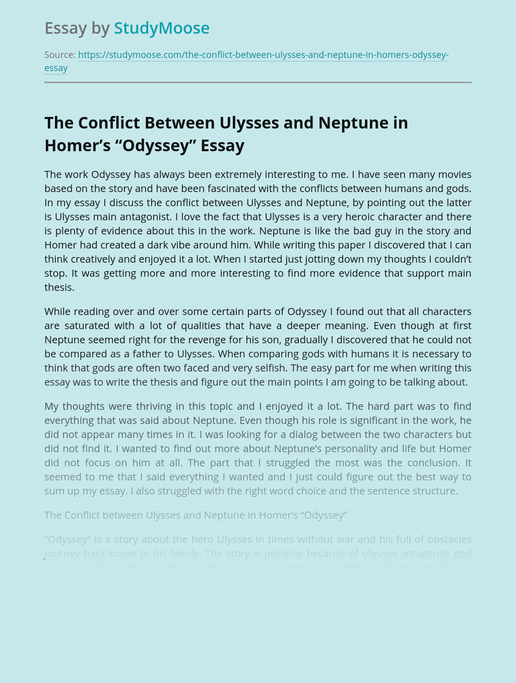 """The Conflict Between Ulysses and Neptune in Homer's """"Odyssey"""""""