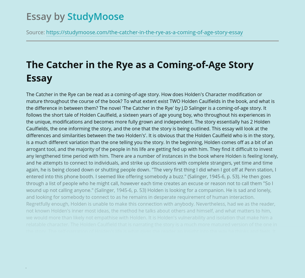 The Catcher in the Rye as a Coming-of-Age Story