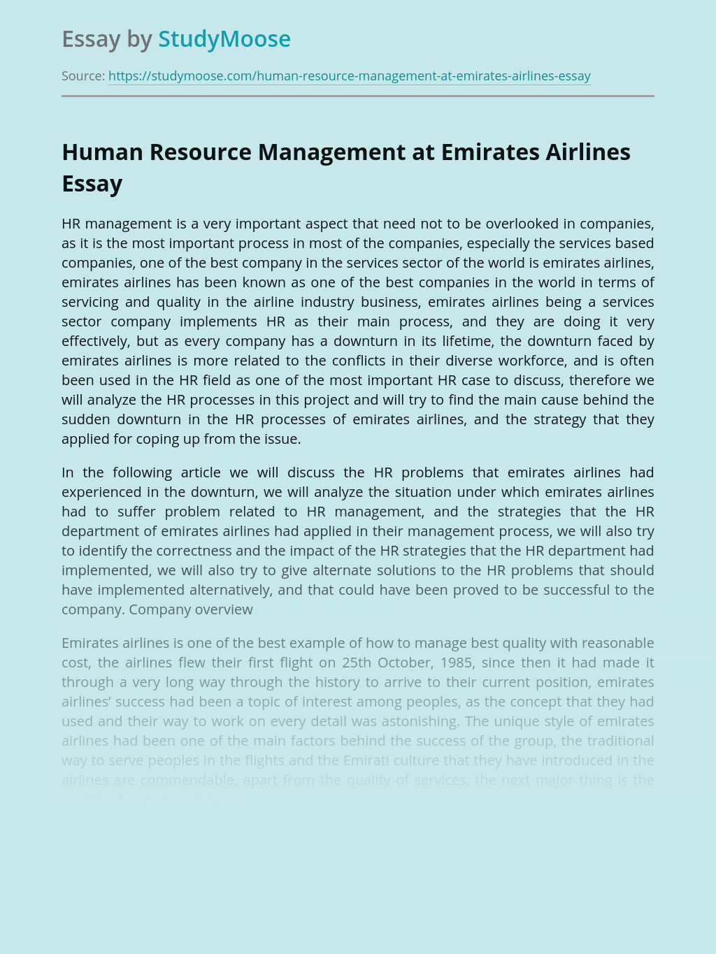 Human Resource Management at Emirates Airlines