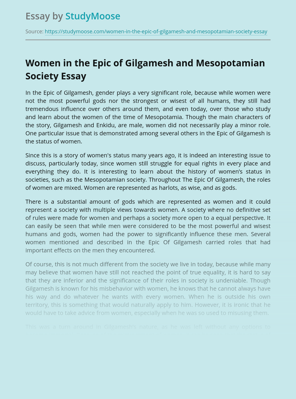 Women in the Epic of Gilgamesh and Mesopotamian Society