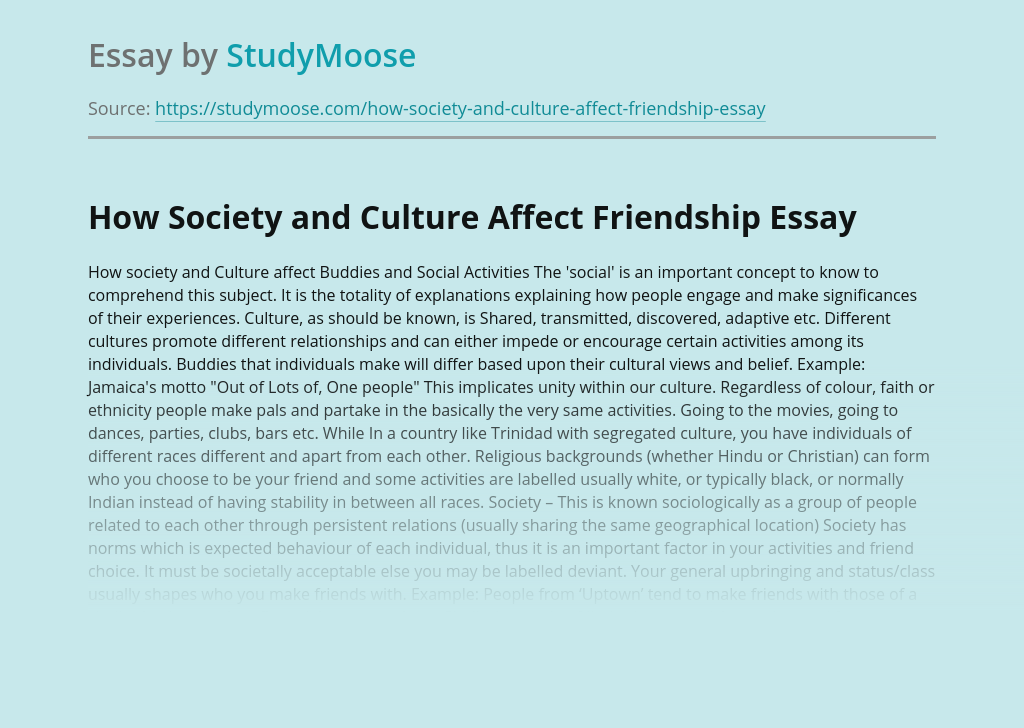 How Society and Culture Affect Friendship