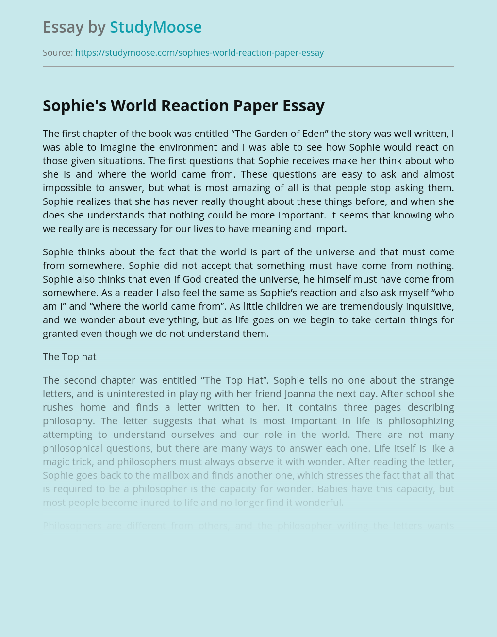 Sophie's World Reaction Paper