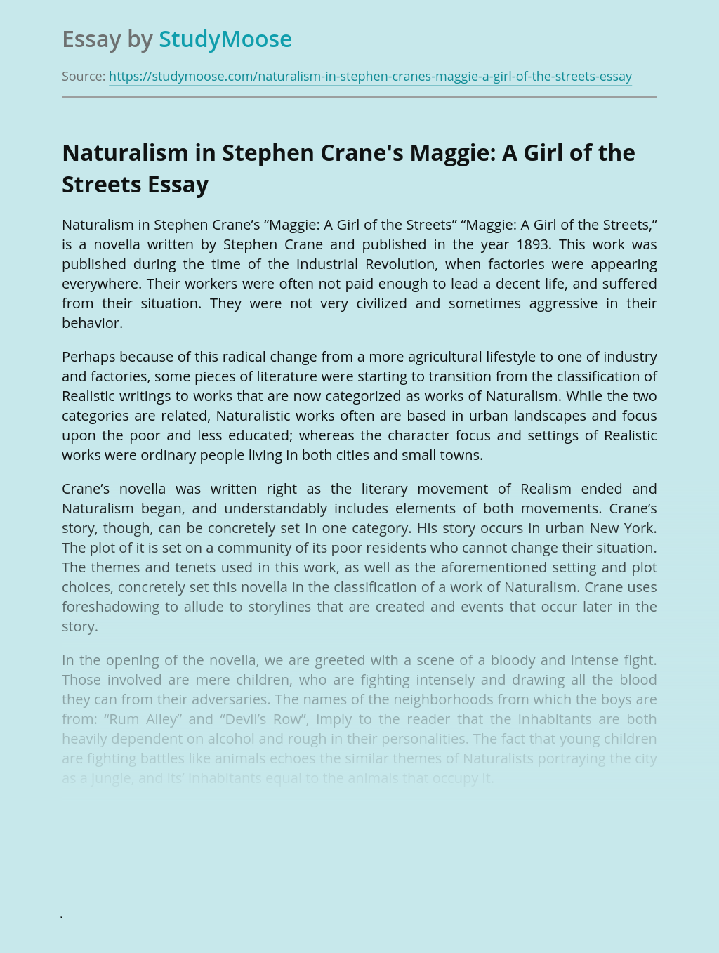 Naturalism in Stephen Crane's Maggie: A Girl of the Streets
