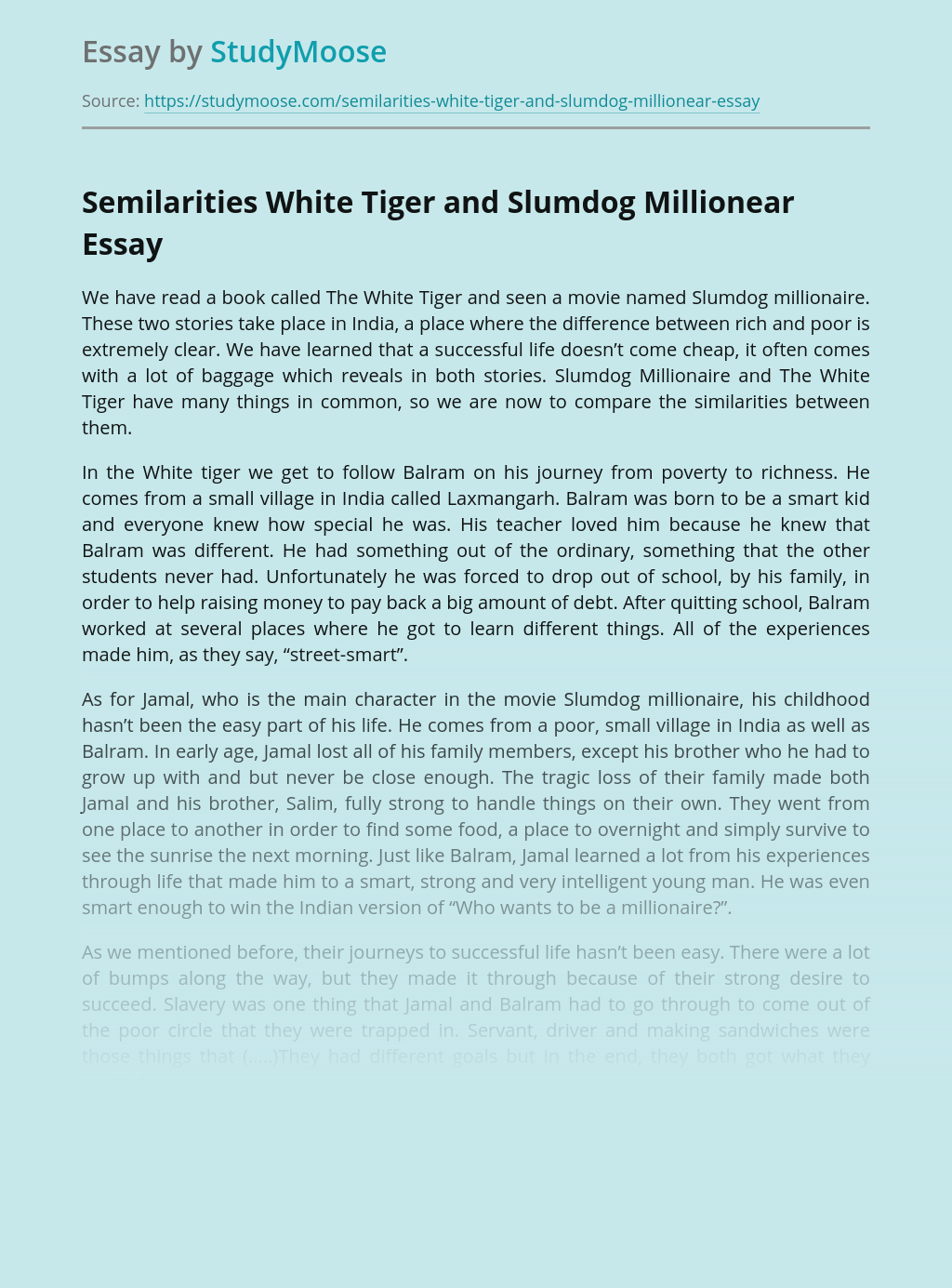 Semilarities White Tiger and Slumdog Millionear