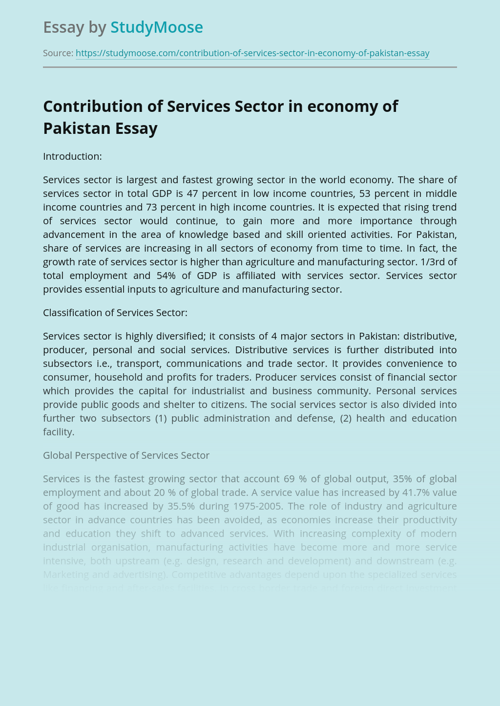Contribution of Services Sector in economy of Pakistan