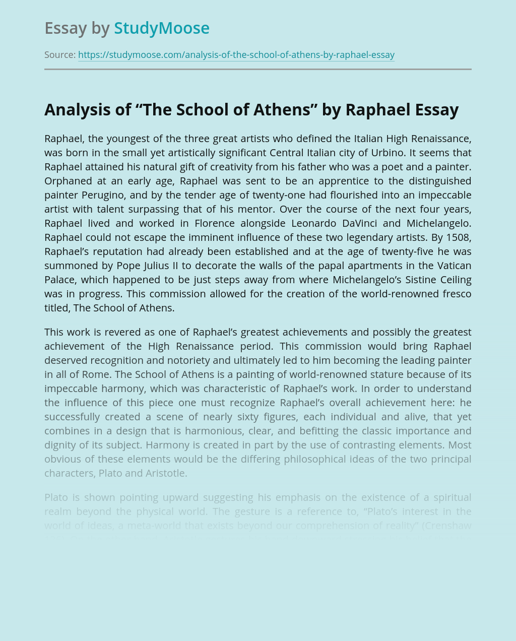 "Analysis of ""The School of Athens"" by Raphael"