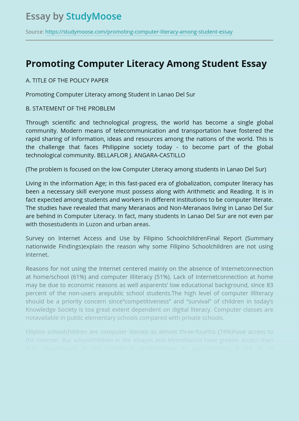 Promoting Computer Literacy Among Student