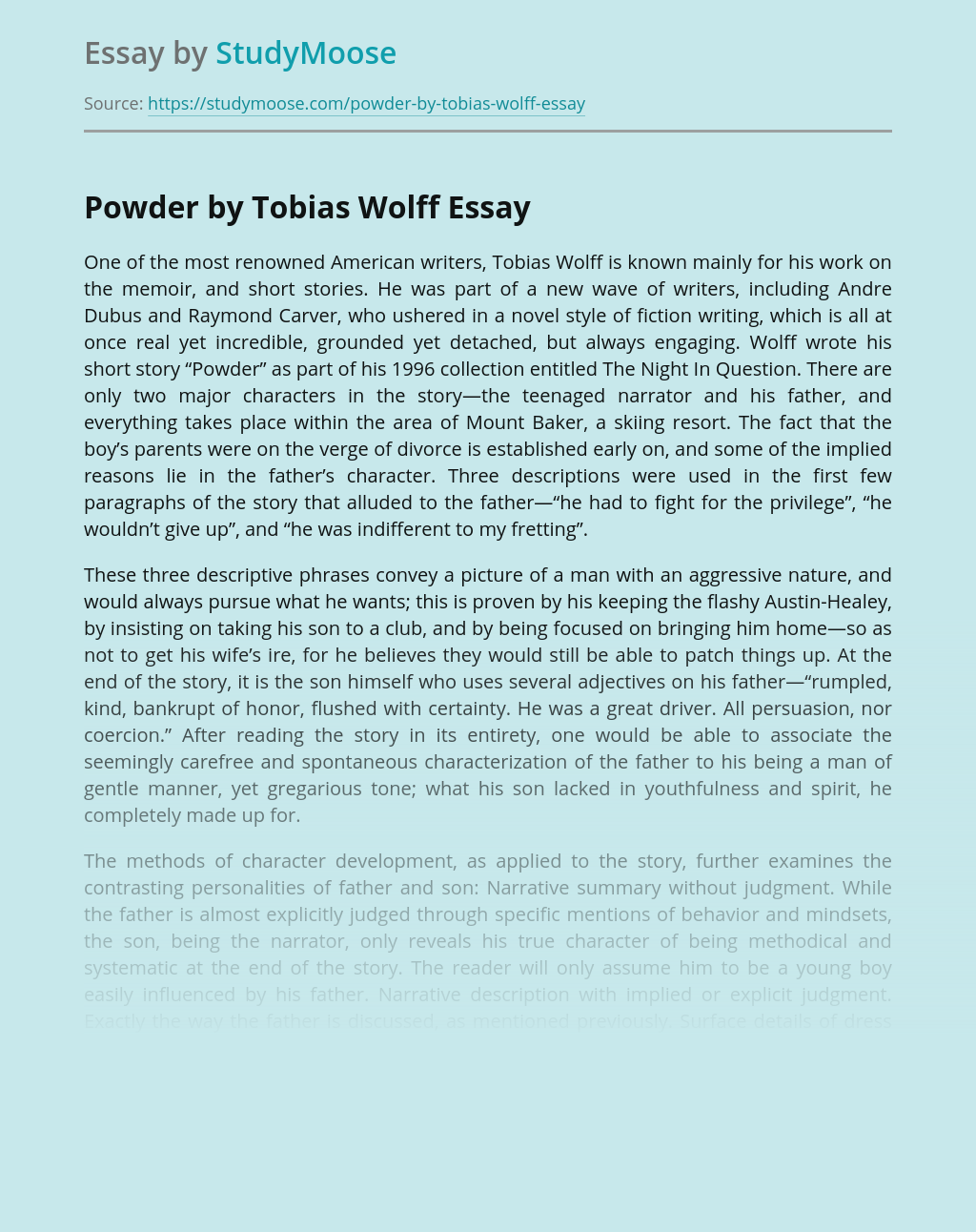 A Short Story Powder by Tobias Wolff