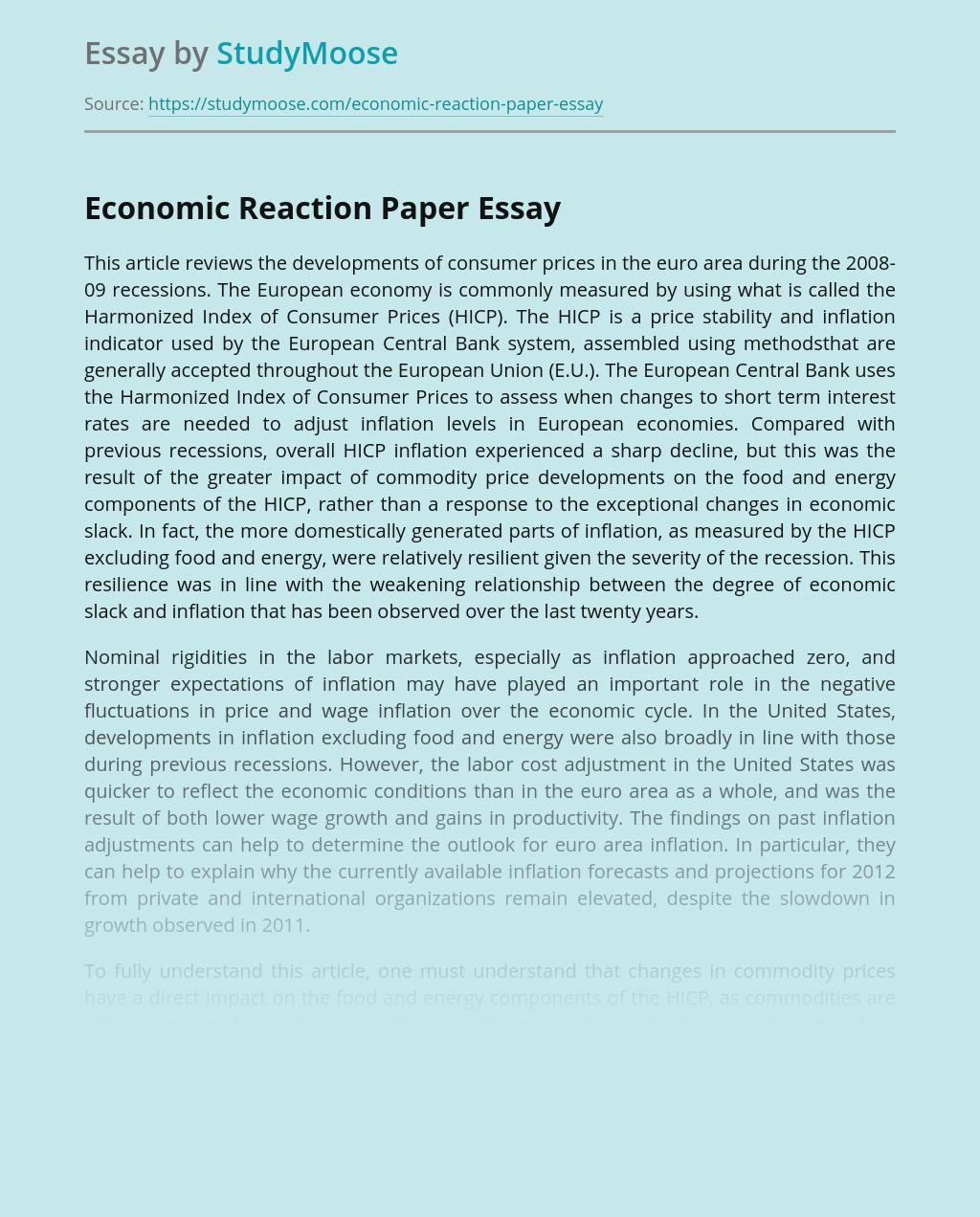 Economic Reaction Paper